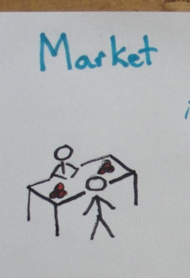Market. Two people stand across a table from each other.