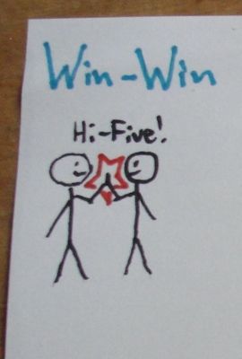 Win-Win. Two people hi-fiving.
