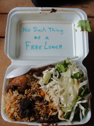 "A styrafoam takeout container with fried rice, fried chicken and salad. The words ""No Such Thing as a Free Lunch"" are written on the inside of the lid."